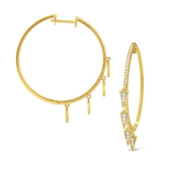 14K Gold and Diamond Triangle Charm Hoops