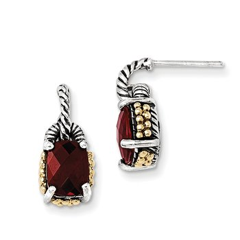 Sterling Silver w/14k Garnet Earrings