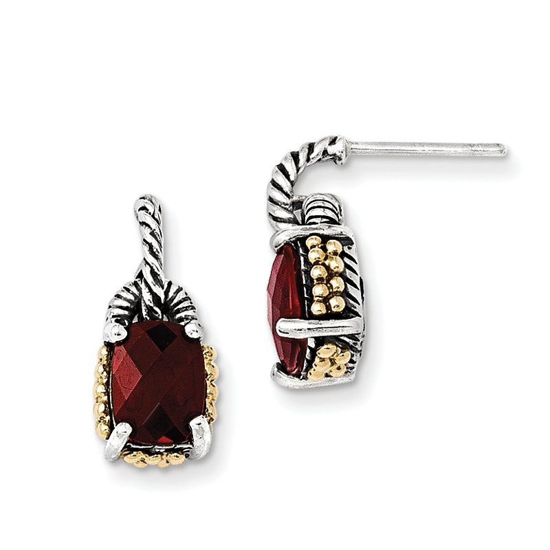 Shey Couture Sterling Silver w/14k Garnet Earrings