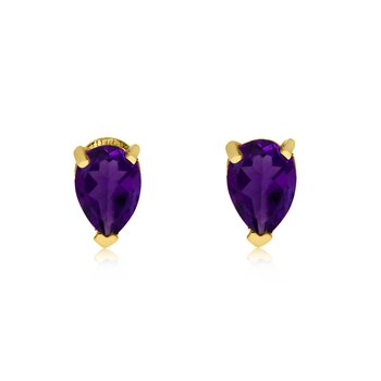 14k Yellow Gold Amethyst Pear-Shaped Earring