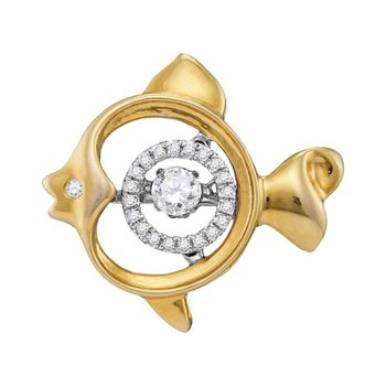 10kt Yellow Gold Womens Round Moving Twinkle Diamond Fish Pendant 1/4 Cttw