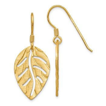 Leslie's Sterling Silver Gold-tone Leaf Shepherd Hook Earrings