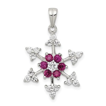 Sterling Silver Rhodium-plated Created Ruby and CZ Snowflake Charm