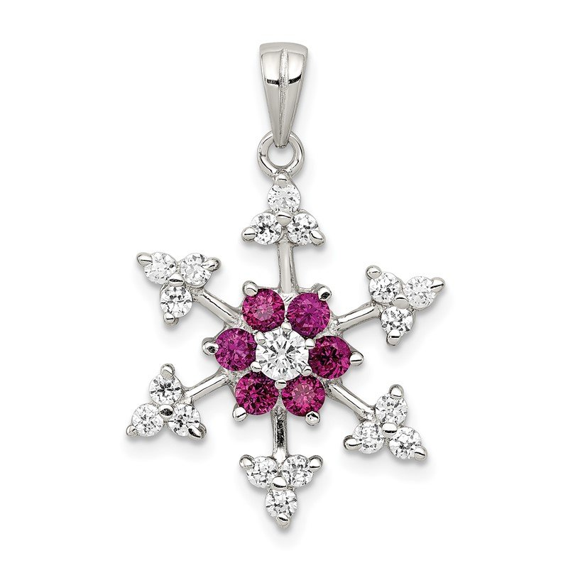 Quality Gold Sterling Silver Rhodium-plated Created Ruby and CZ Snowflake Charm