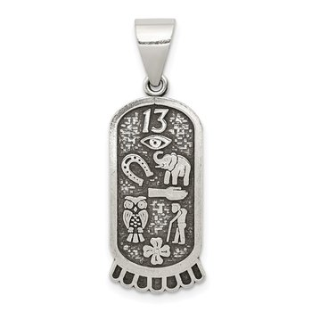 Sterling Silver Antiqued Good Luck Icon Pendant