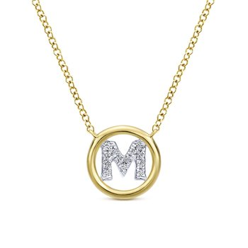 "14K Yellow Gold Diamond ""M"" Initial Necklace"