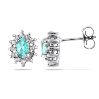 14K WG Diamond & Acquamarine All Purpose Ear-rings
