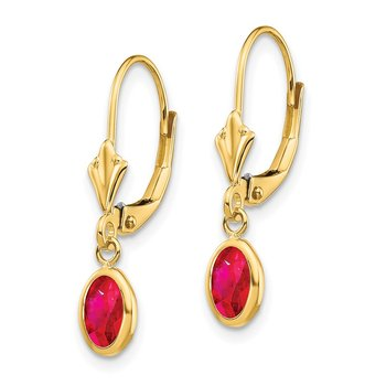 14k 6x4 Oval Bezel July/Ruby Leverback Earrings