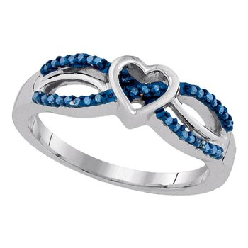 Sterling Silver Womens Round Blue Color Enhanced Diamond Double Row Heart Ring 1/10 Cttw