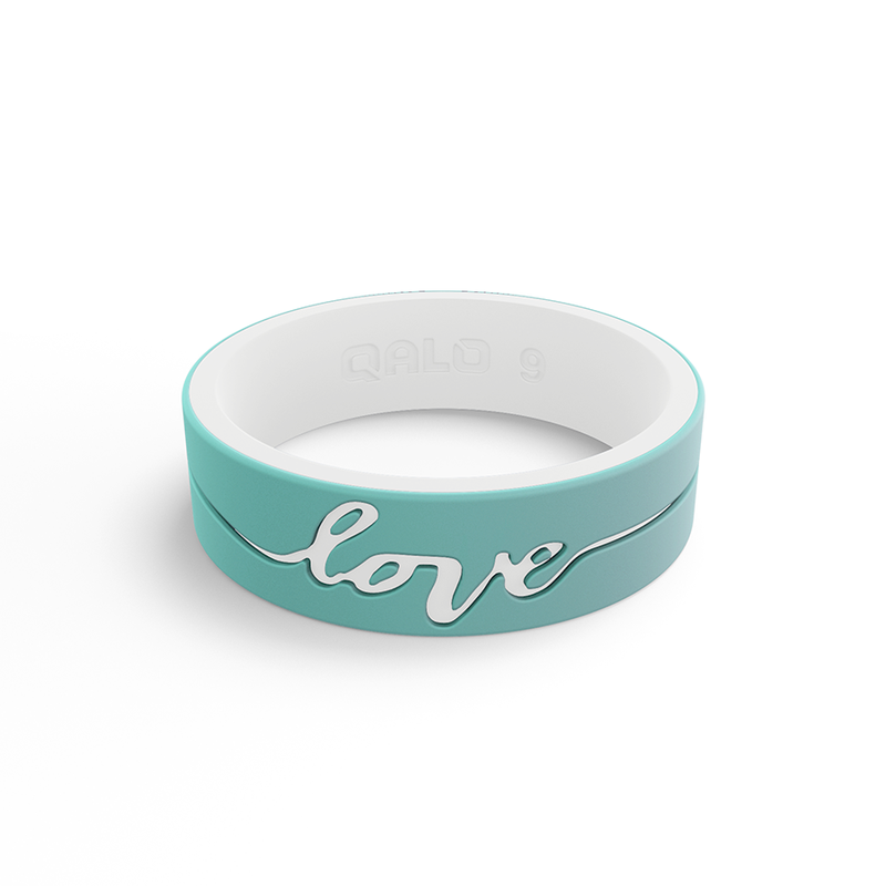Qalo Women's Strata Mint & White Love Silicone Ring
