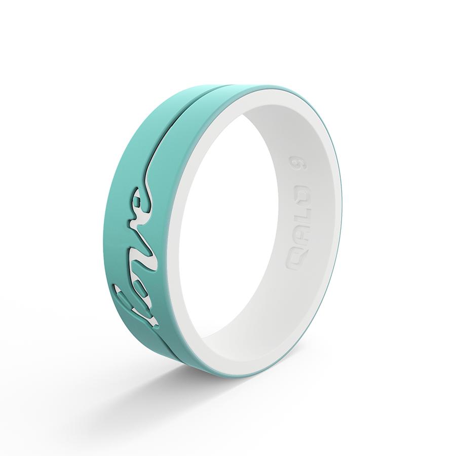 NEW Qalo Women/'s Strata Black and Aqua Arrow Silicone Ring 6 7 8