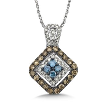 Pave set Blue, Cognac and White Diamond  Pendant, 14k White Gold  (3/4 ct. tw.)