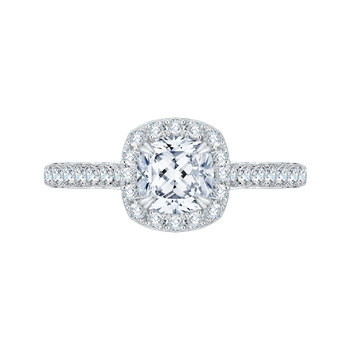 18K White Gold Cushion Halo Diamond Engagement Ring (Semi-Mount)