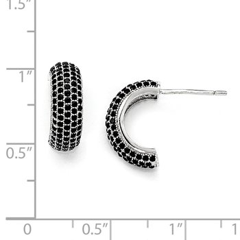 SS Rhodium-Plated Black CZ Brilliant Embers Post Earrings