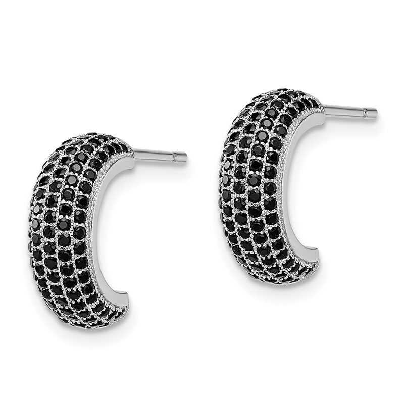Quality Gold Sterling Silver Brilliant Embers Rhodium-plated Black CZ Post Earrings