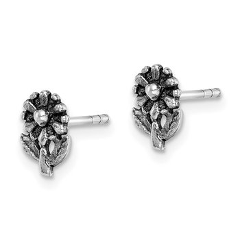 Sterling Silver Rhodium-plated Antiqued Flower Post Earrings