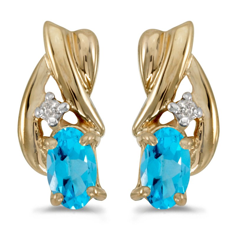 Color Merchants 14k Yellow Gold Oval Blue Topaz And Diamond Earrings