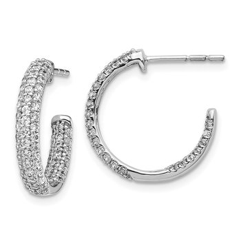 14k White Gold Diamond In/Out Hoop Post Earrings