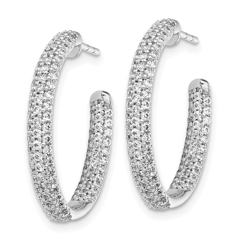Quality Gold 14k White Gold Diamond In/Out Hoop Post Earrings