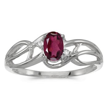 14k White Gold Oval Rhodolite Garnet And Diamond Curve Ring