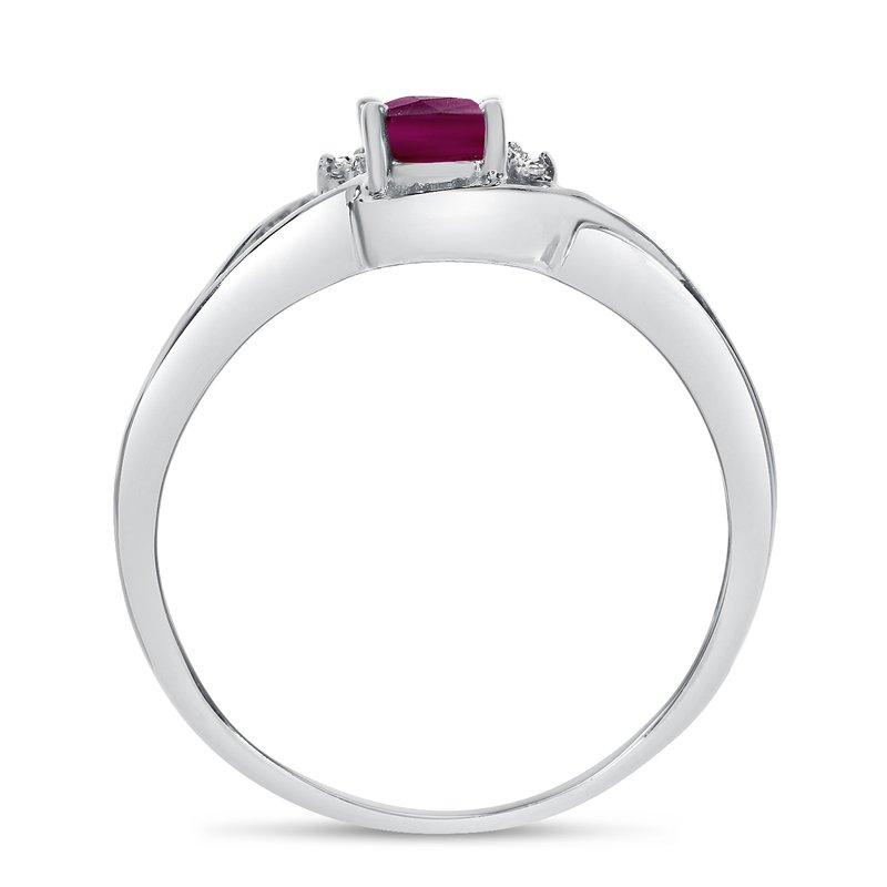 Color Merchants 14k White Gold Oval Rhodolite Garnet And Diamond Curve Ring
