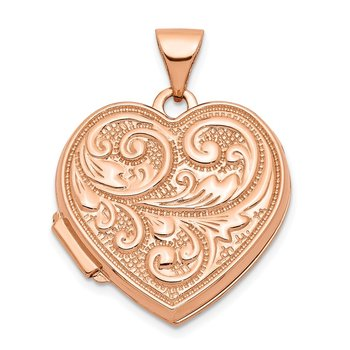 14k Rose Gold 18mm Scrolled Love You Always Heart Locket