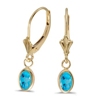 14k Yellow Gold Oval Blue Topaz Bezel Lever-back Earrings