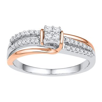 10kt Two-tone Gold Womens Round Diamond Square Cluster Ring 1/5 Cttw