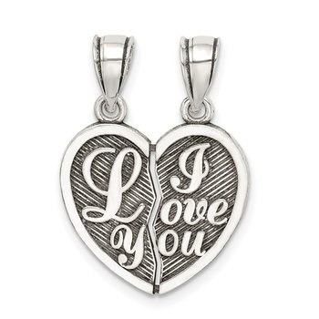 Sterling Silver Antiqued Mini I Love You Break Apart Heart Pendant