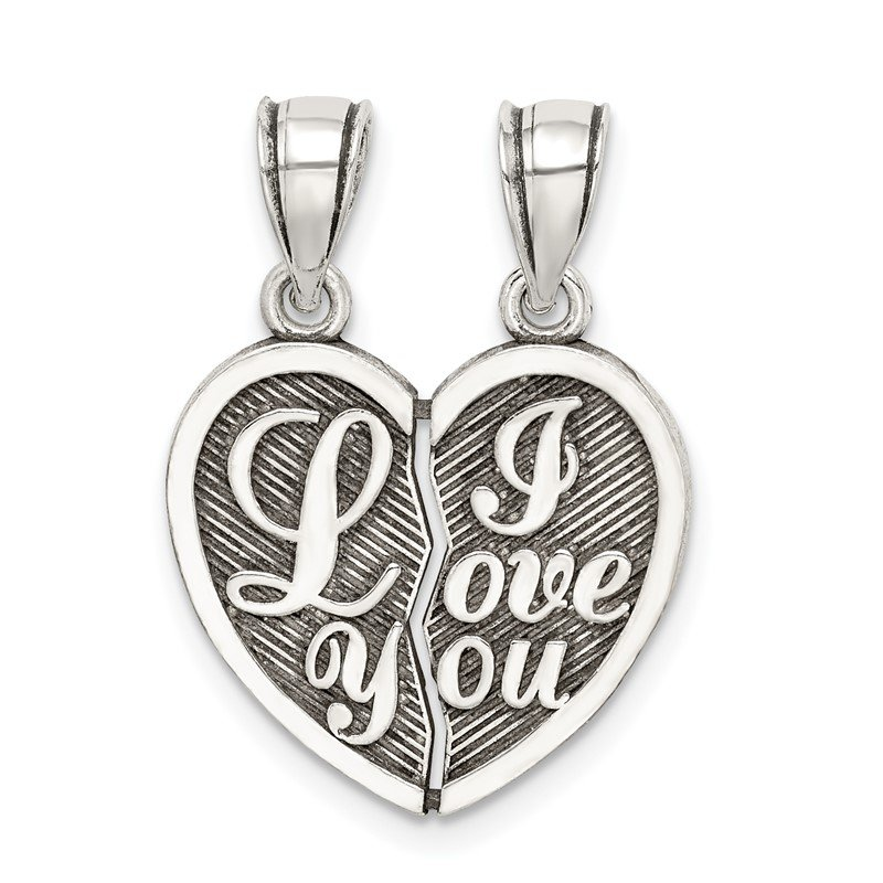 Quality Gold Sterling Silver Antiqued Mini I Love You Break Apart Heart Pendant