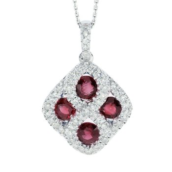14k White Gold Ruby and .26 ct Diamond Pendant