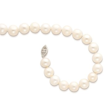 Sterling Silver Rhodium-plated 10-11mm White FW Cultured Pearl Necklace