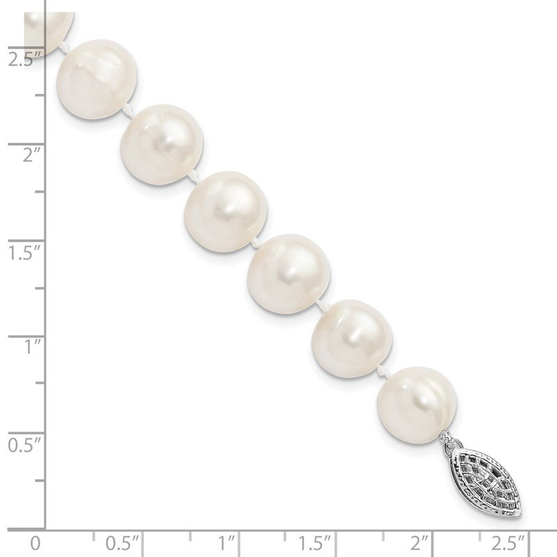 Quality Gold Sterling Silver Rhodium-plated 10-11mm White FW Cultured Pearl Necklace