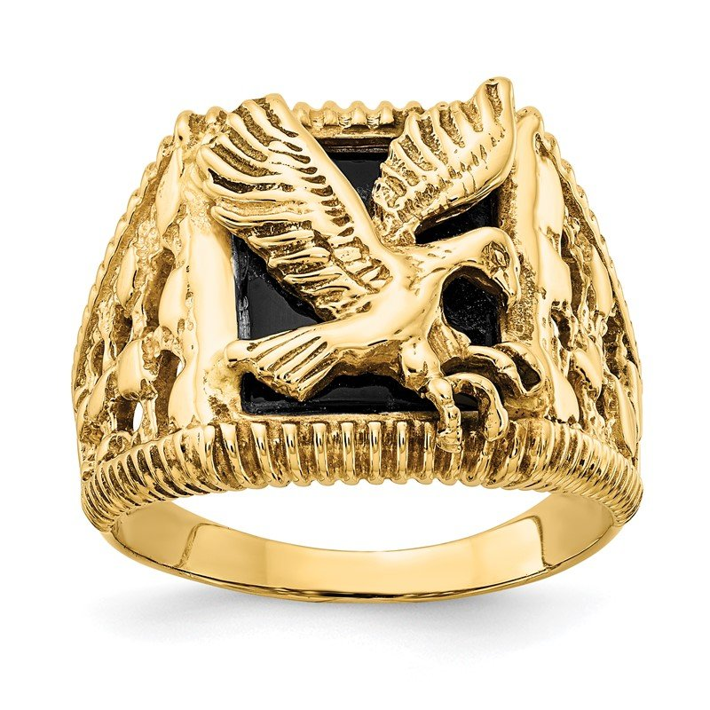 Quality Gold 14k Men's Onyx Eagle Ring