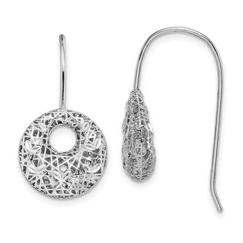 Sterling Silver Rhodium-plated D/C Circles Dangle Earrings