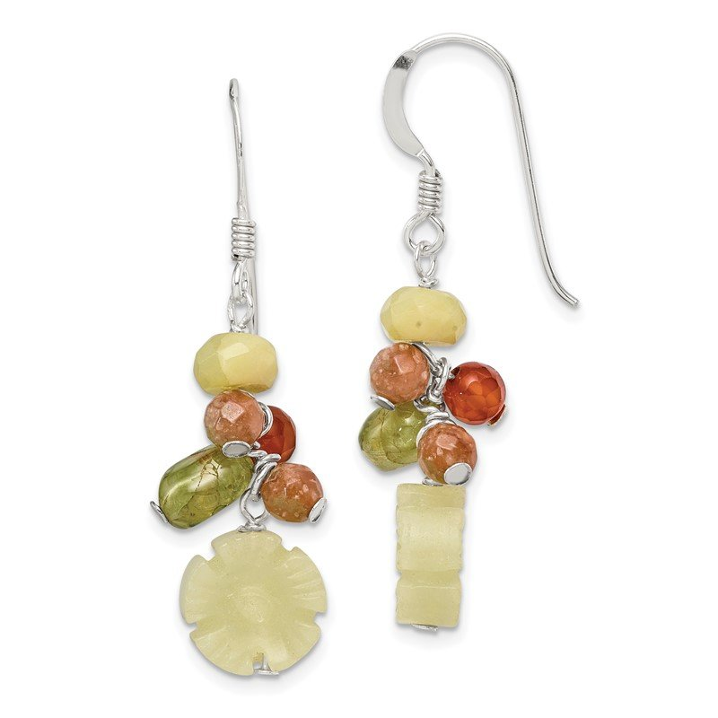 Quality Gold Sterling Silver Jade/Unikite/Peridot/Aventurine/Carnelian Earrings