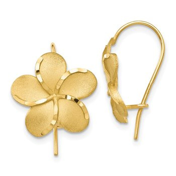 14k Plumeria French Wire Earrings