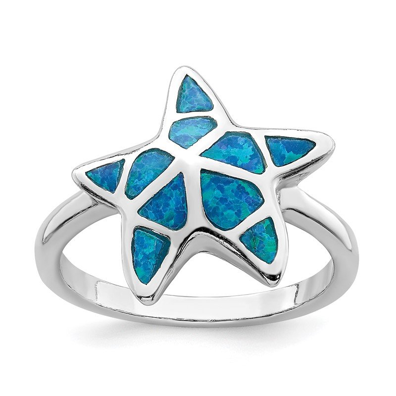 Quality Gold Sterling Silver Rhodium-plated Blue Inlay Created Opal Starfish Ring