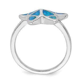 Sterling Silver Rhodium-plated Blue Inlay Created Opal Starfish Ring
