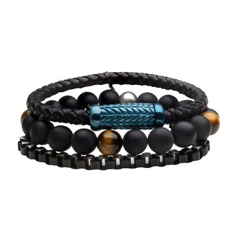 Black Braided Leather, Dual Tone Chain and Tiger's Eye Stones in Black Onyx Bead Stackable Bracelets