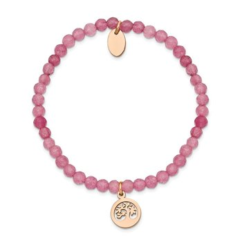 Stainless Steel Polished Rose IP Tree Pink Jade Beaded Stretch Bracelet