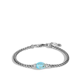 Classic Chain Bracelet in Silver with Gemstone and Diamond