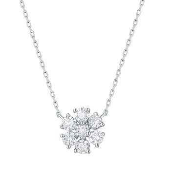 Smiling Rocks 0.50Ct G-H/VS1 Lab Grown Diamond 7-Stone Floral Cluster Necklace