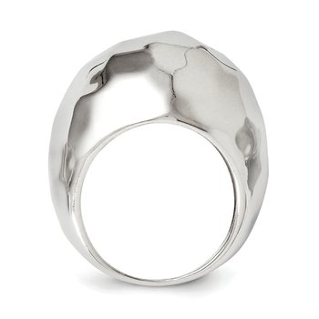 Leslie's Sterling Silver Polished Hammered Domed Ring