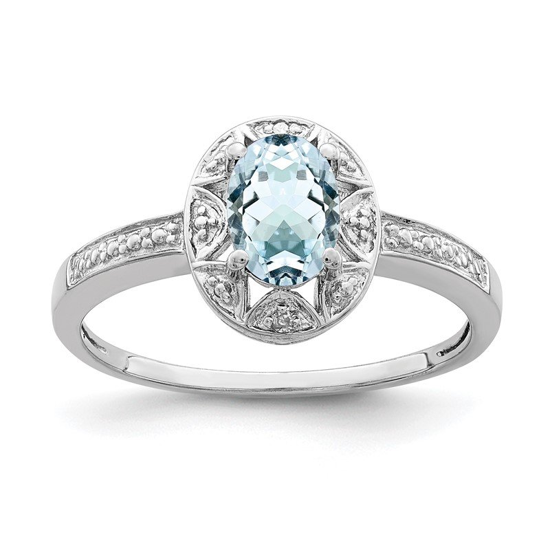 Arizona Diamond Center Collection Sterling Silver Rhodium-plated Diam. & Aquamarine Ring