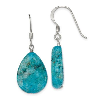 Sterling Silver Small Crack Aventurine Turquoise Tear Drop Earrings