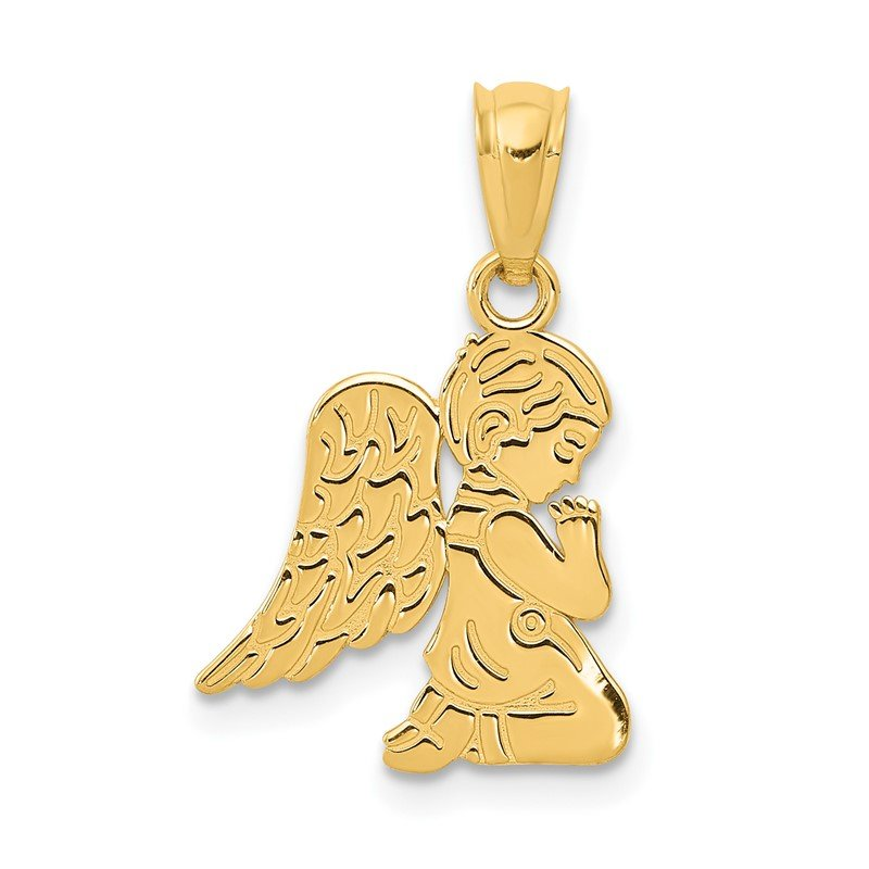 Quality Gold 14k Polished Praying Angel Boy Pendant