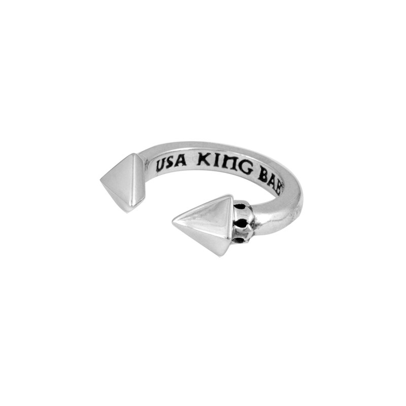 King Baby Open Ring With Pyramids