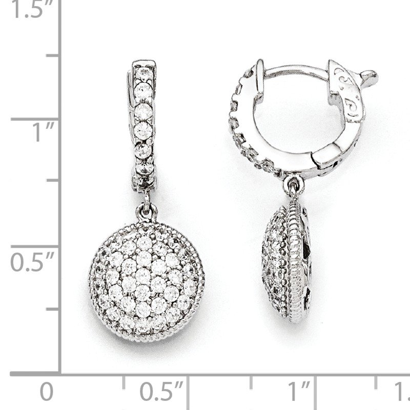 Quality Gold Sterling Silver Rhodium Plated CZ Hinged Hoop Dangle Earrings