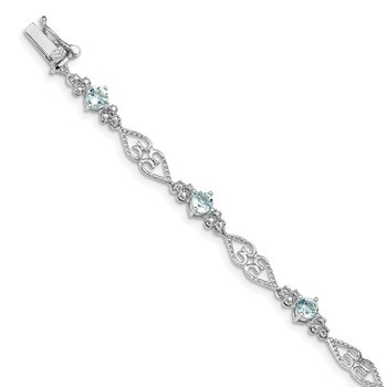 Sterling Silver Rhodium-plated Diamond Aquamarine Bracelet